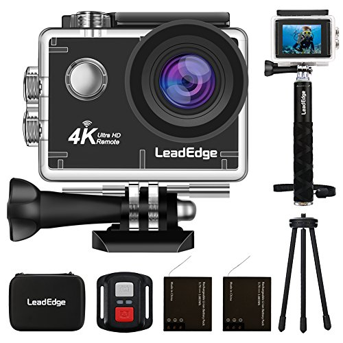 LeadEdge Action Camera 4K WiFi Ultra HD Sports Video Cam Waterproof DV Underwater Camcorder 4K/30FPS 1080P/60FPS 30M Diving 170° Wide Angle Remote Control /Monopod/Tripod/Carrying Case/2 Battery (Hd Camcorder Waterproof)