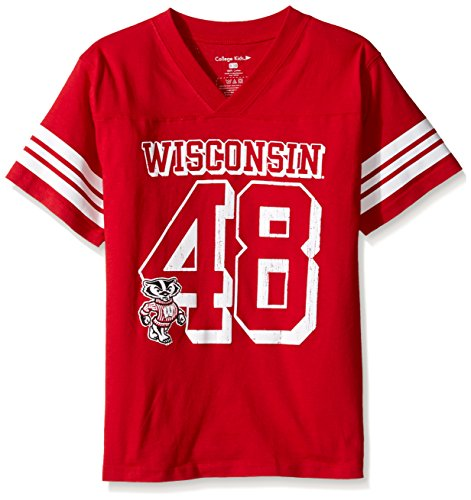 Badger Football T-shirt (NCAA Wisconsin Badgers Youth Football Tee, Size 8-10 /Small, Red)