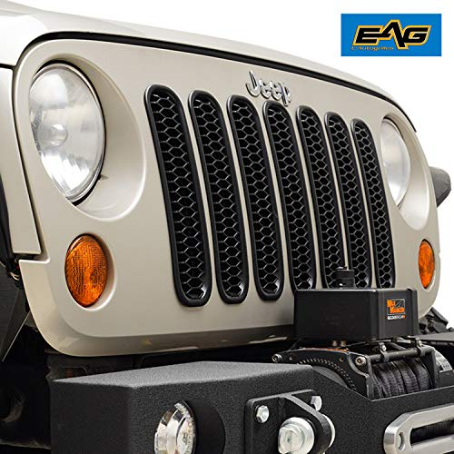 EAG Clip-in Honeycomb Grille Inserts Front Grill Insert Cover Fit for 07-18 Jeep Wrangler JK - Matte Black - -