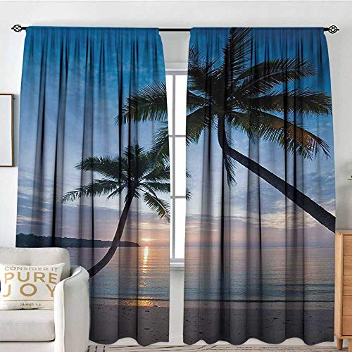 tains Tropical,Sunset Over Ocean Calm Exotic Beach in Kut Island Thailand Summertime,Blue Black Pale Pink,for Bedroom,Nursery,Living Room 84