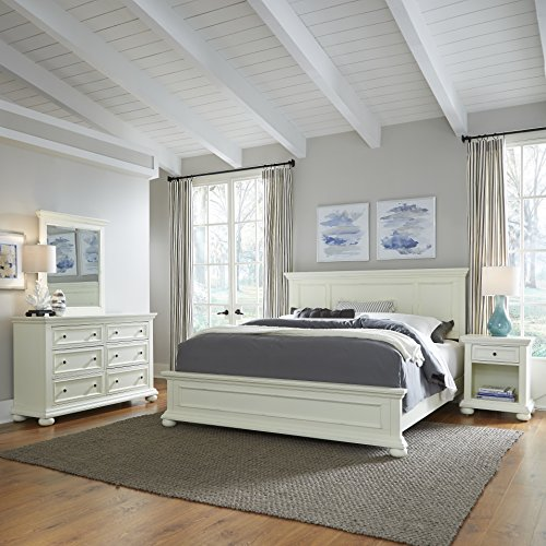 Home Styles 5427-6023 Dover King Bed with Night Stand and Dresser & Mirror, Antique White