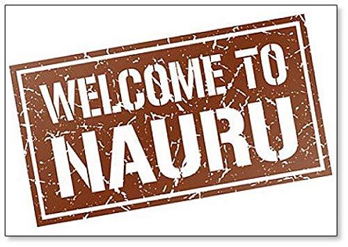 Welcome to Nauru Stamp Illustration Fridge Magnet
