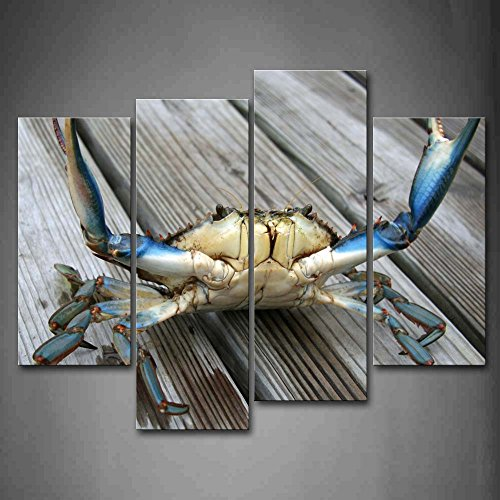 - First Wall Art - Blue Crab Stretch Out Claw On Plank Wall Art Painting The Picture Print On Canvas Animal Pictures For Home Decor Decoration Gift