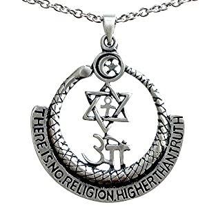 Theosophy THERE IS NO RELIGION HIGHER THAN TRUTH Pewter Pendant w Necklace