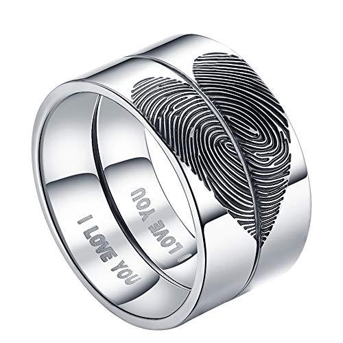 LAVUMO Matching Promise Rings for Couples I Love You Engagement Wedding Bands Sets for Him and Her Half Heart Fingerprints Rings Stainless Steel 6mm with Box Comfort Fit (Men 7 & Women 9)
