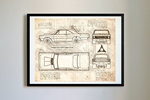 #263 Dodge Dart Hemi Super Stock 1968 Art Print, da Vinci Sketch - Unframed - Multiple Size/Color Options (17x22, Vintage)
