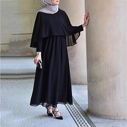 Vestido Túnica Dubai Vjgoal Verano Sólido Mujer Color Casual Musulmán Árabe Manto Largo Negro Islámica Kaftan Larga Jilbab Moda Vintage Abaya Manga UUfnTq6Arw