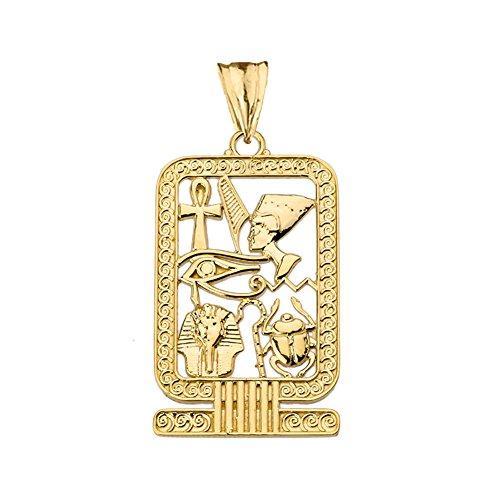 - Exquisite 10k Yellow Gold Ancient Egyptian Cartouche Pendant