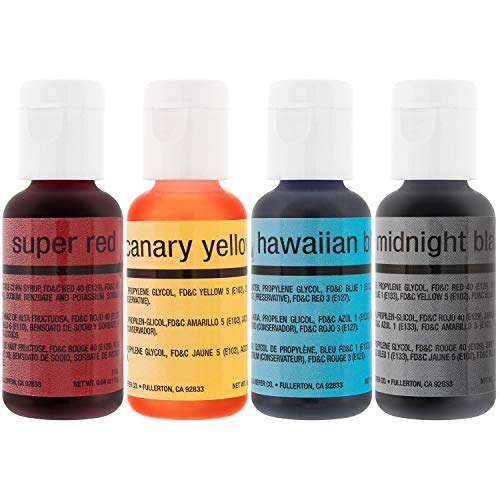 U.S. Cake Supply by Chefmaster Airbrush Cake Color Set - The 4 Most Popular Colors in 0.7 fl. oz. (20ml) Bottles