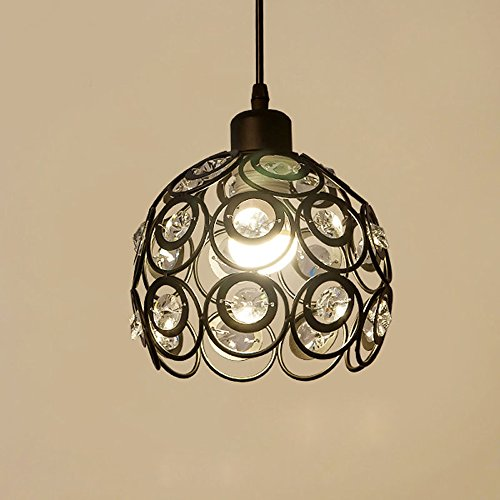 YANCEN Antique Black Metal Crystal Chandelier Lighting Hollow Pendant Light Ceiling Lamp Fixture E26 Bulb Painted Finish for Dining Room Bar Island by YANCEN