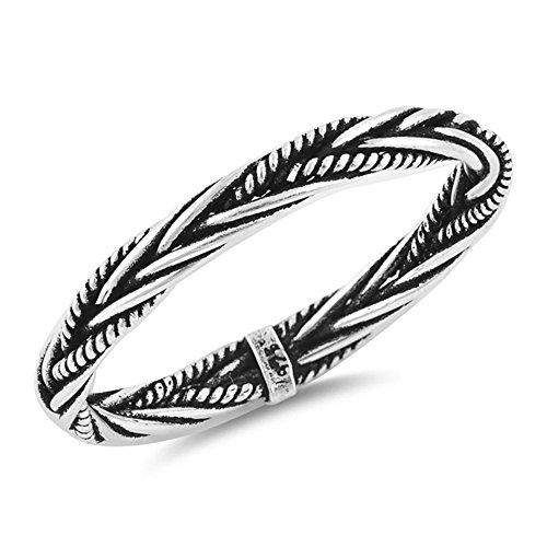 925 Sterling Silver 3 Braid (Antique 925 Sterling Silver Bali Rope Braid Eternity Ring (9))