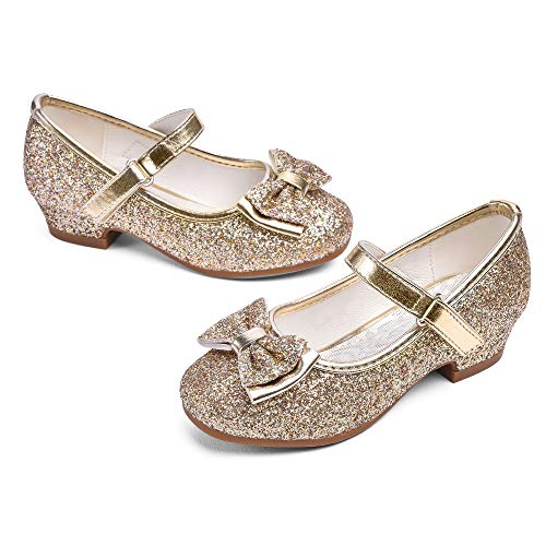 STELLE Girls Mary Jane Glitter Shoes Low Heel Princess Flower Wedding Party Dress Pump Shoes for Kids Toddler(Gold, 8MT)
