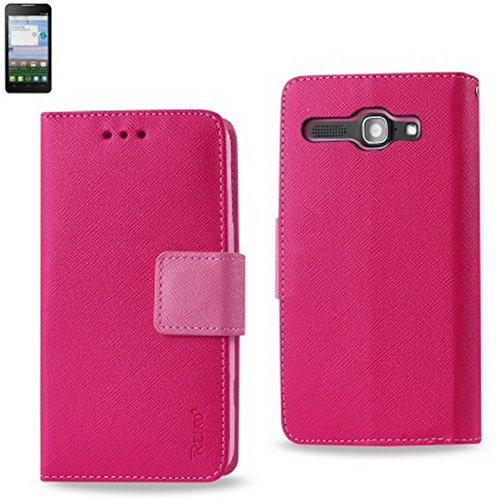 (PINK) 2IN1 WALLET CASE FITTING CASE FOR Alcatel Onetouch Sonic LTE A851L INTERIOR LEATHER-LIKE MATERIAL AND POLYMER COVER - Carrying Case - Retail Packaging+New SNK Stylus Touch Pen