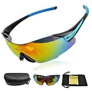 West Biking, lo más nuevo, gafas deportivas, protección de ojos, aptas para conducir, correr o montar en bicicleta, anti roturas, hombre Niños Infantil Unisex mujer, azul y negro