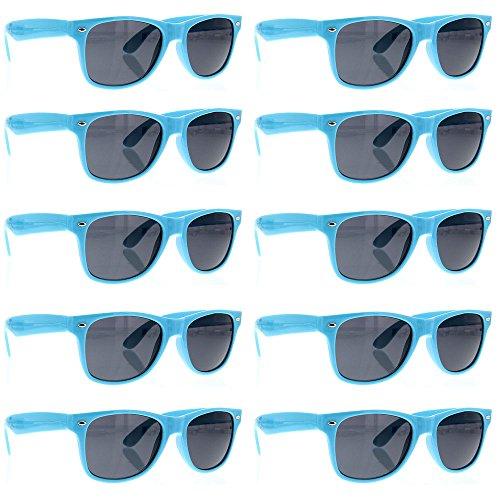 grinderPUNCH Wayfarer Sunglasses 10 Bulk Pack Lot Neon Color Party Glasses - Neon Sunglasses Wholesale