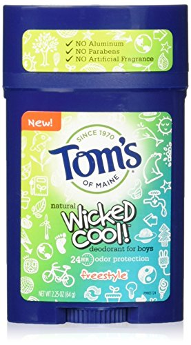 Boys Natural - Tom's of Maine Wicked Cool Teen Boys Natural Freestyle Deodorant, 2.25 Ounce (Pack of 6)