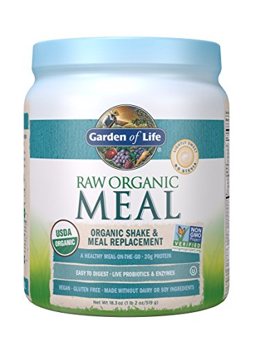 Garden of Life Meal Replacement – Organic Raw Plant Based Protein Powder, Lightly Sweet, Vegan, Gluten-Free, 18.3oz (1lb 2oz / 519g) Powder
