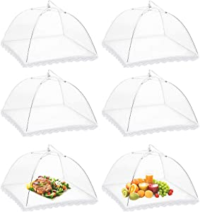 Onarway 6 Pack Food Covers 17 Inch Pop-Up Encrypted Mesh Plate Serving Tents, Fine Net Screen Umbrella for Outdoors, Parties, Picnics, BBQs, Reusable and Collapsible