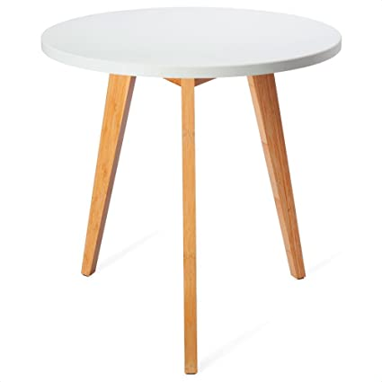 Amazon Com Bamboo End Table Small Round White And Natural Living
