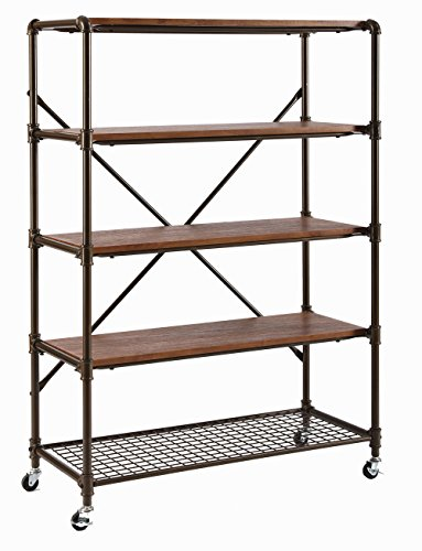"O&K Furniture 5-Shelf Rolling Kitchen Bar Serving Cart with Wheels for Easy Mobility, 45.5""H"