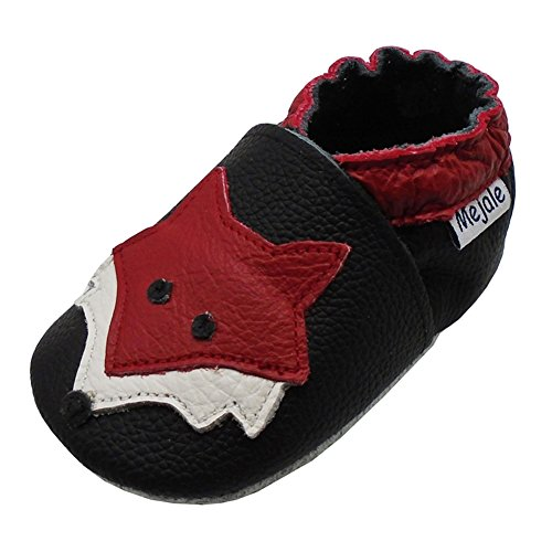 Image of Mejale Baby Shoes Soft Sole Leather Crawling Moccasins Cartoon Fox Infant Toddler First Walker Slippers
