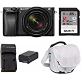 Sony a6300 Mirrorless Camera with 18-135mm Lens with LCD, 3, Black Essentials Bundle
