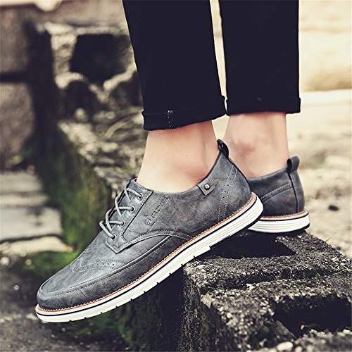 Estate Shoe Bianco Brown Business Black leggero Scarpe Pure D Lace PU formale Grey Business up Primavera XUE da Scarpe uomo Traspirante lavoro Casual Pure Pure 1Txwa0Xq