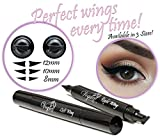 Eyeliner Stamp – WingLiner by Lovoir / Vogue Effects Black, waterproof, smudgeproof, winged long lasting liquid eye liner pen, Vamp style wing, No Dipping required. 2 Pens (10mm Classic)