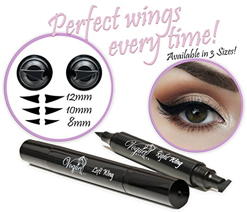 Eyeliner Stamp – WingLiner by Lovoir / Vogue Effects Black, waterproof, smudgeproof, winged long lasting liquid eye liner pen, Vamp style wing, No Dipping required. 2 Pens (10mm Classic) by Vogue Effects (Image #9)