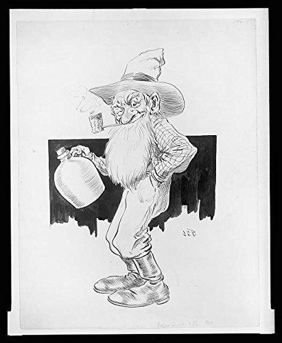Photo: Effects, An Old Farmer, Long Beard, Smoking Corn Cob Pipe, Jug of Moonshine, 1903 . Size: - Froday Sales Black