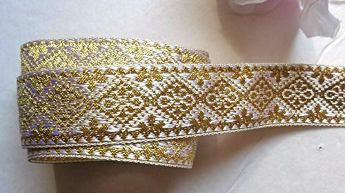 Decorative Ribbon Trim - Decorative notions and Trims - Jacquard Ribbon, 1 inch Ivory/Gold Selling by The Yard - Embellish Garments, Pillows and Home d?cor