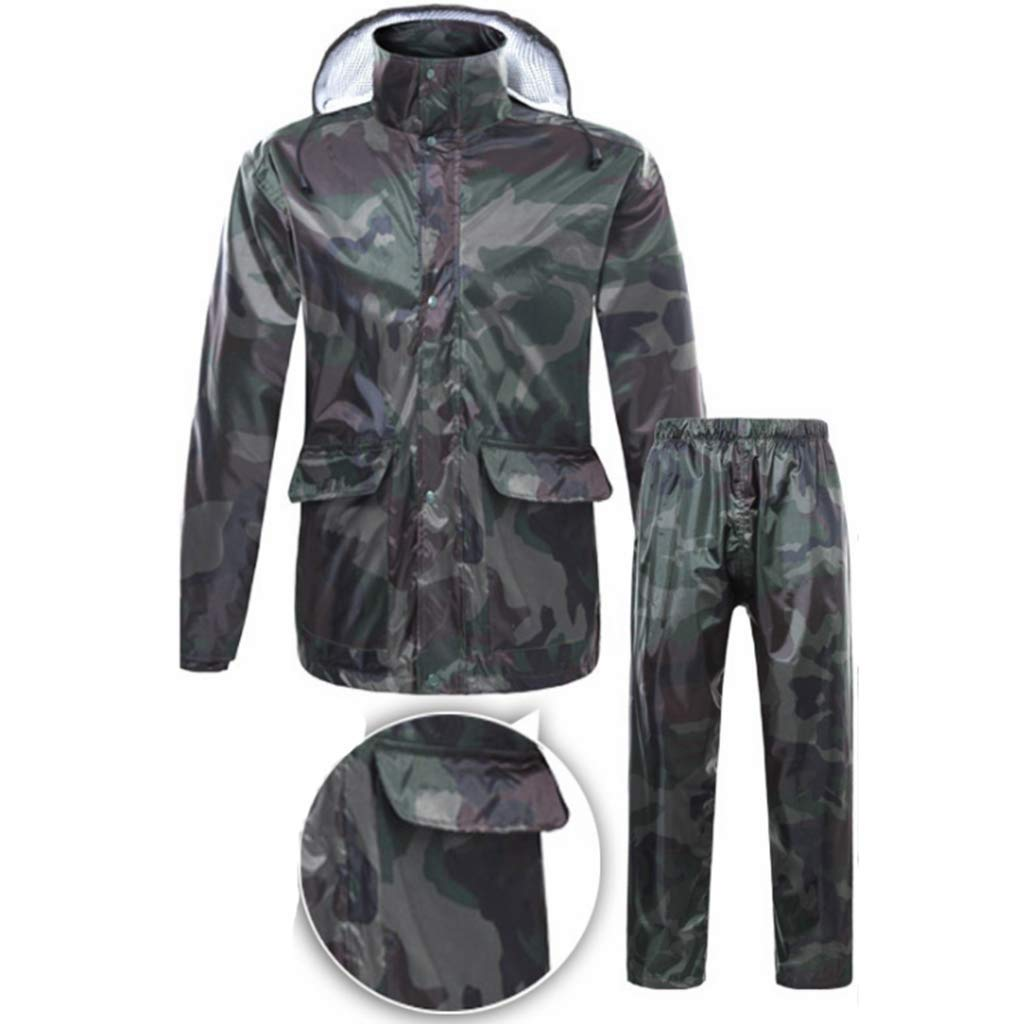 Men Women Raincoat Set Waterproof Jacket Trouser Suits Windproof Coat Pants Set Motorcycle Rainwear Suit with Hideaway Hood Camouflage (Size   XXLarge)