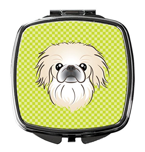 Caroline's Treasures BB1283SCM Checkerboard Lime Green Pekingese Compact Mirror, Multicolor
