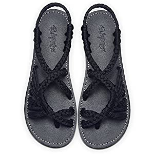 Everelax Summer Braided Strip Flat Sandals Casual Vacation Beach Shoes for Women Teenagers Girls