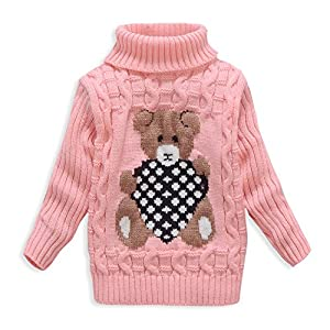 VIFUUR Kids Bear Turtleneck Sweater Boys Girls Knit Sweater for Christmas