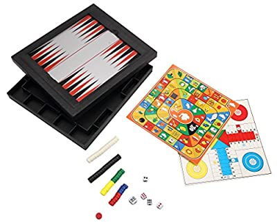 [5 in 1 ] [2~4 player] ABS Plastic Magnetic Game Travel Backgammon Board Set/Chinese Checkers/Ludo Game/Nine Men's Morris/Goose Game
