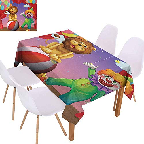UHOO2018 Circus Decor,Elegant Tablecloth,A Lion and a Clown at The Circus Stage Theater Curtain Playing Performance,Perfect for Any Entertaining Event,Multicolor,55