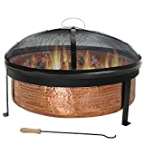 Sunnydaze Hammered 100% Copper Wood Burning Fire Pit with Spark Screen, 30 Inch Diameter