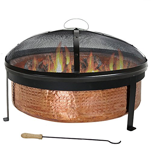 Sunnydaze Hammered 100% Copper Fire Pit Bowl with Cover and Spark Screen, Outdoor Patio and Backyard Wood Burning Round Firepit, 30 Inch ()