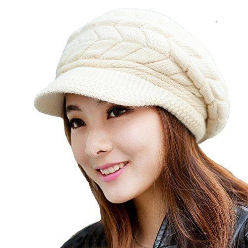 Zgllywr Women Winter Warm Knit Hat Wool Snow Ski Caps Visor Hats