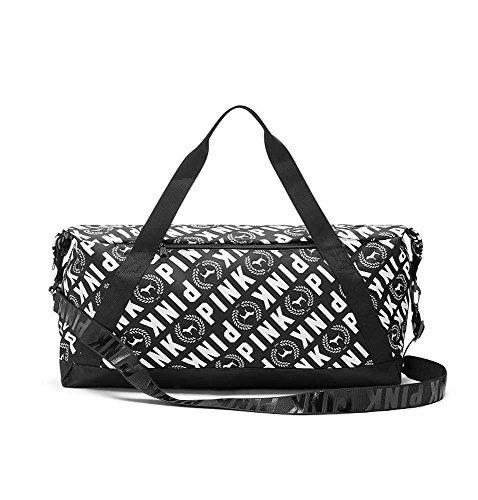 (Victoria's Secret PINK Duffle Gym Bag Allover Logo Black/White)