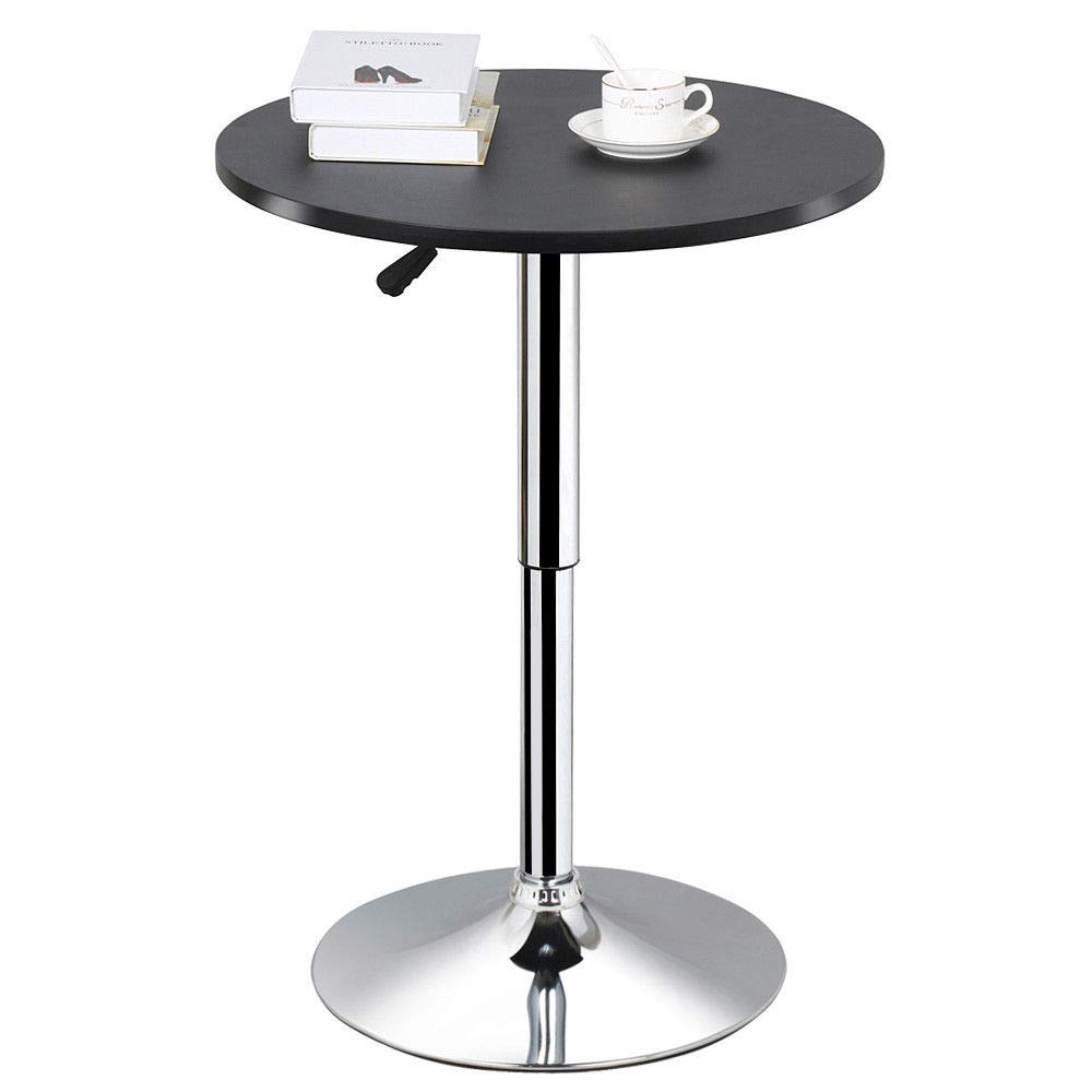 Phasuk MDF & Steel Modern Swivel Round Counter Height Table Adjustable Pub Bistro Bar Cafe Tables Indoor