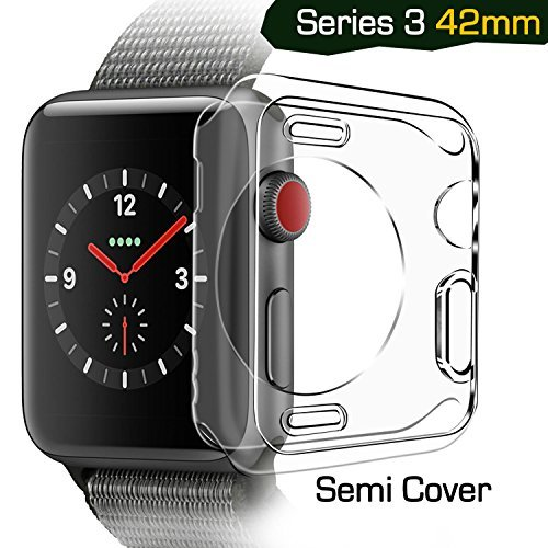Apple watch series 3 case 42mm, TIRIO iwatch 3 Case TPU SEMI-Around 0.3mm Ultra-Slim Soft High Transparency Scratch-Resistant Cover