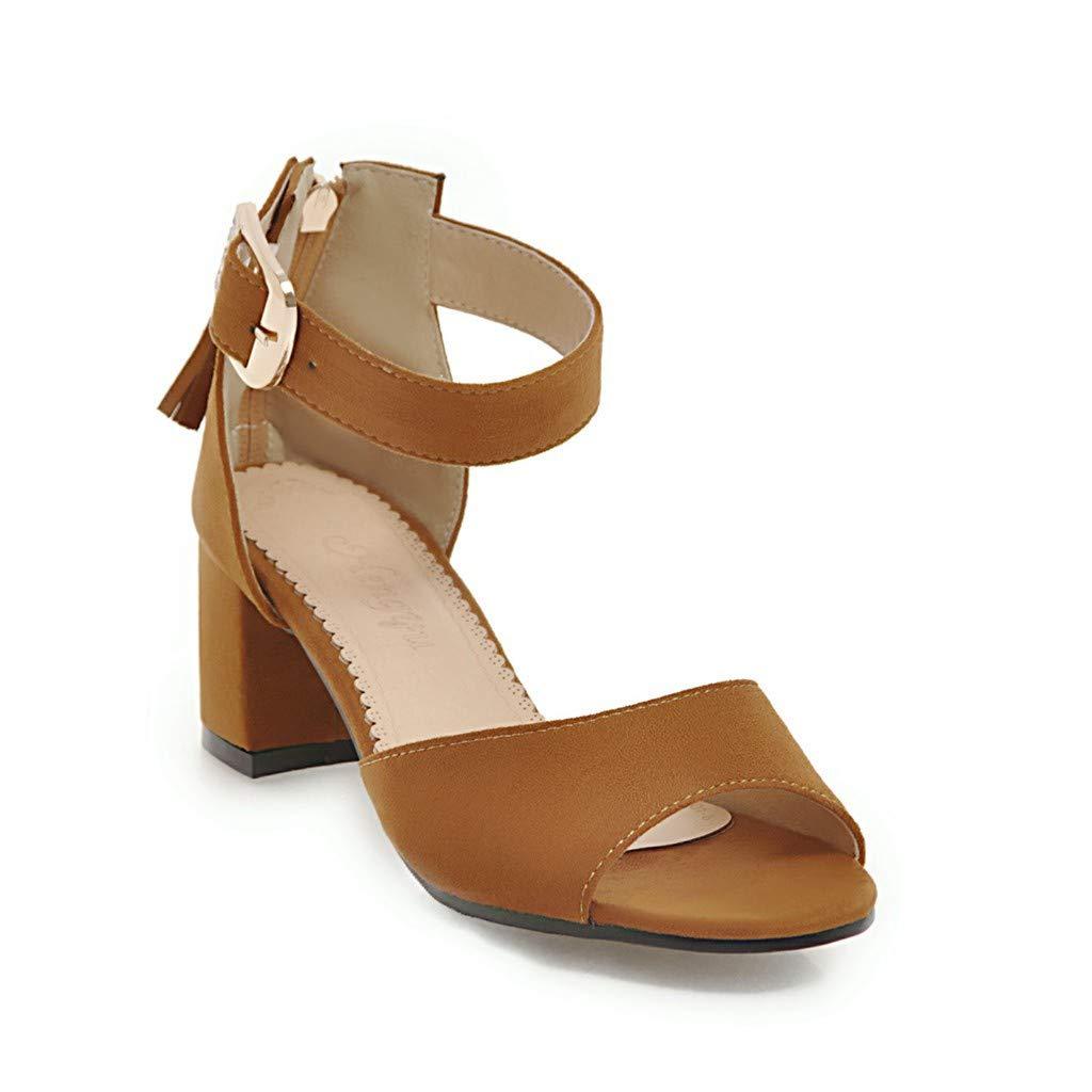 622ad81050d Amazon.com | GATUXUS Open Toe Mid Chunky Heel Ankle Strap Sandals ...