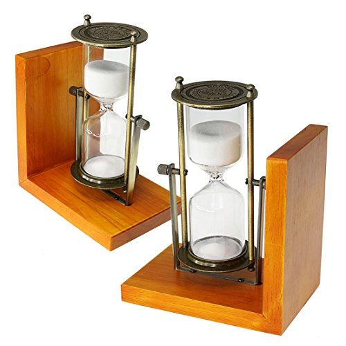 SZAT Hourglass Sand Timer Clock Romantic Mantel Office Desk Coffee Table Book Shelf Curio Cabinet Christmas Birthday Present Gift Box Package 1 Pair (White, Bookends,15 Minutes)