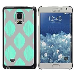 Patrón gris del trullo verde a cuadros de la hoja - Metal de aluminio y de plástico duro Caja del teléfono - Negro - Samsung Galaxy Mega 5.8