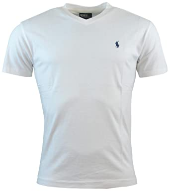 c5dcfba515 Polo Ralph Lauren Mens Classic Fit Solid V-Neck T-Shirt - M - White