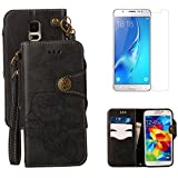 For Samsung Galaxy S5/S5 Neo Wallet Case with Screen Protector ,OYIME [ Elegant Vintage Rose ] Classic Design Flip Bookstyle Leather Holster with Wrist Lanyard Kickstand Magnetic Card Slots Function Full Body Protective Cover - Black