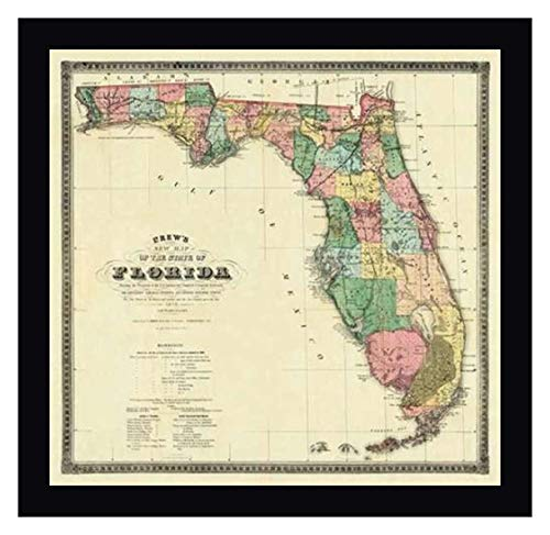 Art 1870 - New Map of The State of Florida, 1870 by Columbus Drew - 42