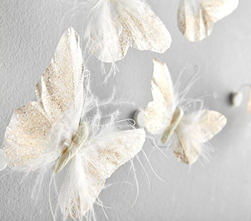Butterflies Wall Decorations - Wall Sticker for Girls by INSPIRED BY JEWEL - Gold & White Feather Butterflies 3D Wall Sticker - Ideal for Nursery Wall Decor & Bedroom Wall Decorations - Pack of 10 (Gold Decor Wall Feather)